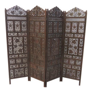Moroccan Carved Four Panel Folding Screen