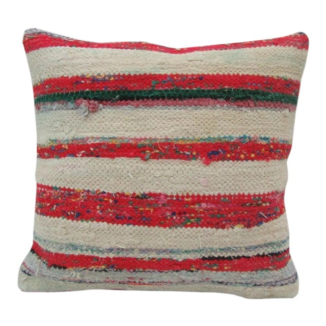 Vintage Handmade Red and White Striped Kilim Pillow Cover For Sale