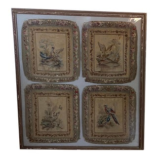 Antique French Aubusson Tapestry Cushions Framed For Sale