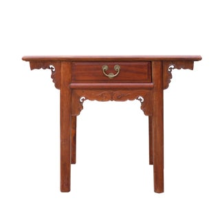 Chinese Oriental Brown Ru Yi Drawer Altar Foyer Side Table For Sale