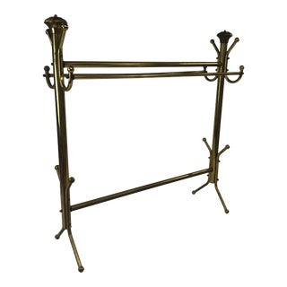 Vintage Hollywood Regency Solid Brass Blanket / Quilt Rack For Sale