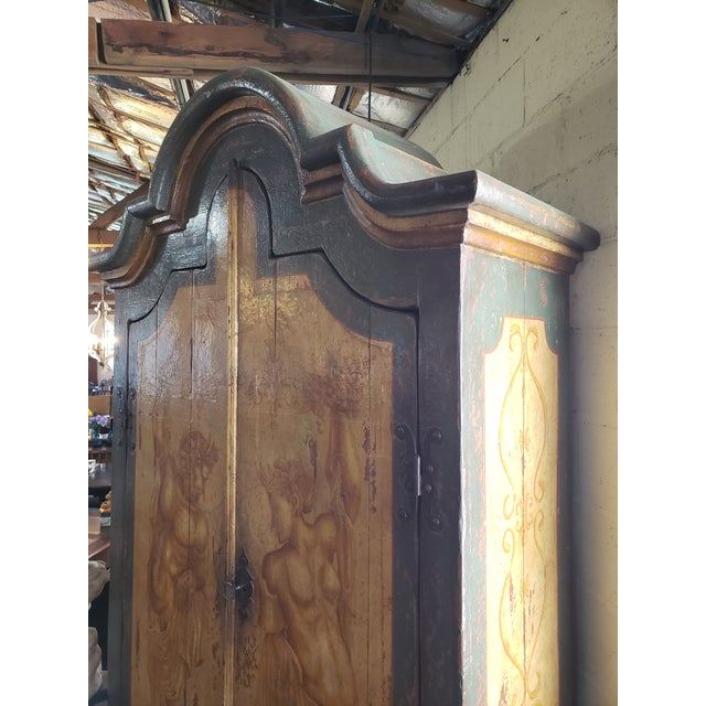 Rustic Hand Painted Arch Top Armoire For Sale - Image 10 of 13