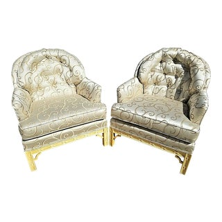 Asian Chinoiserie Style Tufted Barrel Back Club Lounge Armchairs -Set of 2 For Sale