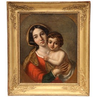 """Mid-18th Century French """"Vierge a L'Enfant"""" Oil on Canvas Painting in Gilt Frame For Sale"""