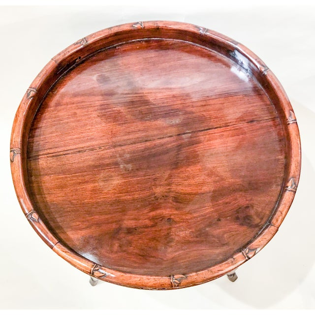 Asian Antique English Carved Teakwood Tray with Stand, Handsome Grain and Color, Circa 1880 For Sale - Image 3 of 6