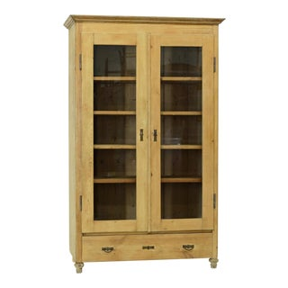 1900s French Country Pine Display Cabinet For Sale