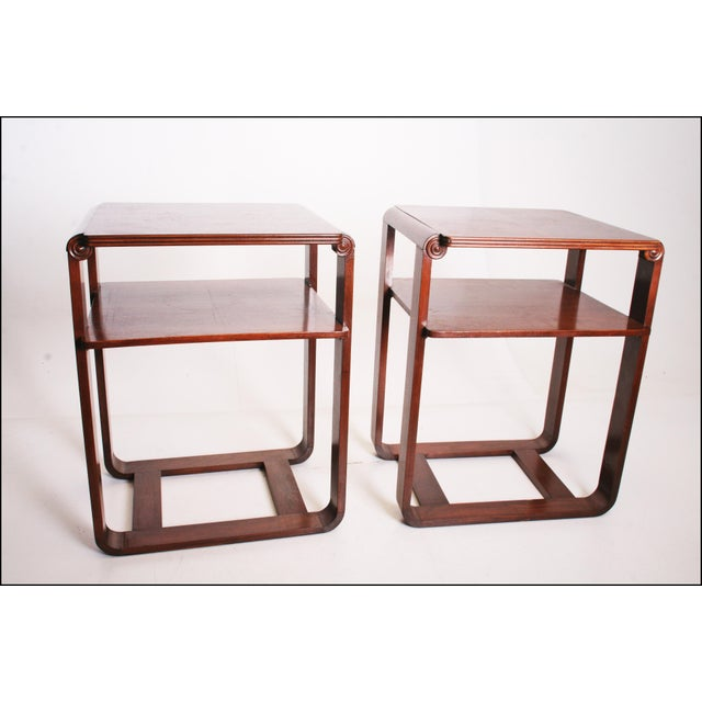 Vintage Art Deco Two Tier Wood Side Tables - A Pair - Image 3 of 11