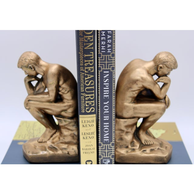 1928 Metallic Gold Thinking Man Bookends For Sale - Image 10 of 12