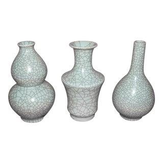 Chinese Crackle Celadon Vases - Set of 3 For Sale