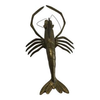 Vintage Brass Prawn Figurine For Sale