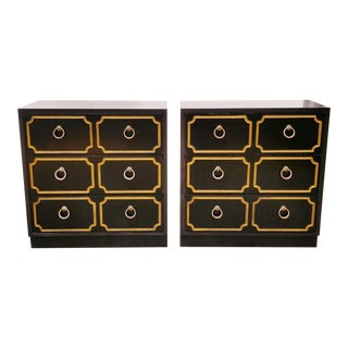 Dorothy Draper Style 3 Drawer Dressers - a Pair For Sale