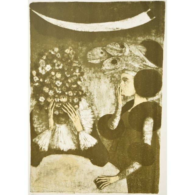 """Lithograph Federico Castellon the Giddiest Grew Pale """"Mask of the Red Death"""" by Poe Lithograph For Sale - Image 7 of 12"""