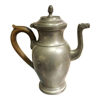 Early 20th Century Belgian Robert Pompe Pewter Camel Spout Pitcher For Sale