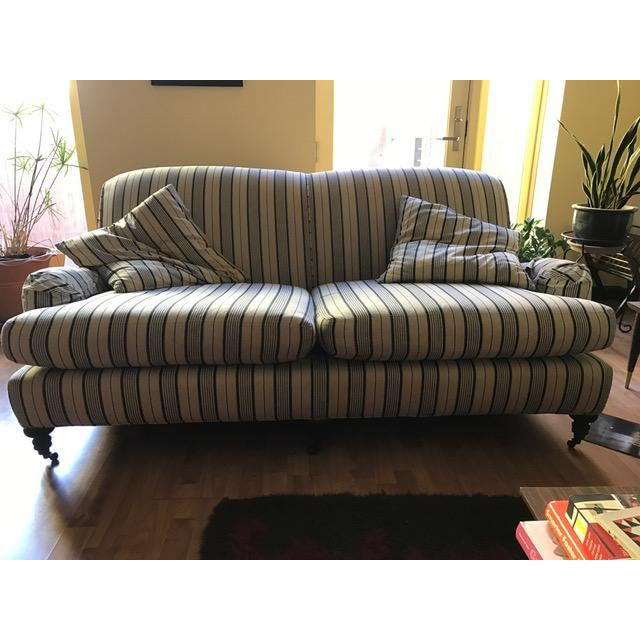 Crate & Barrel Striped Fabric Sofa - Image 2 of 6