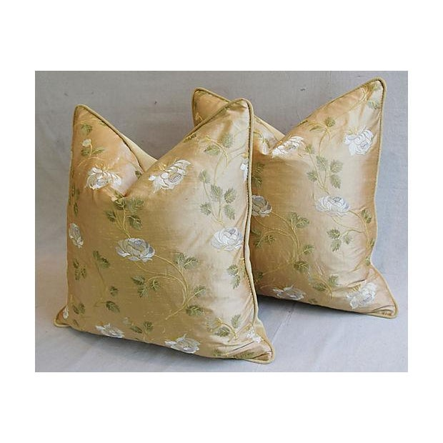 """Feather 24"""" Custom Tailored Embroidered White Rose Silk Feather/Down Pillows - Pair For Sale - Image 7 of 12"""