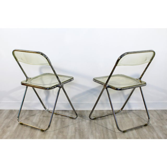 Chrome 1960s Vintage Castelli Mid Century Modern Lucite Chrome Folding Side Chairs - Set of 4 For Sale - Image 8 of 12