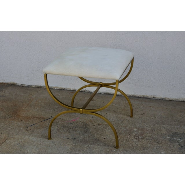Neoclassical Revival Pair of Gilt Wrought Iron and Hide Stools by Design Frères For Sale - Image 3 of 7
