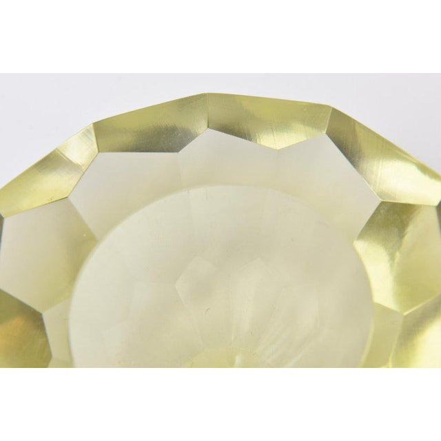Italian Vintage Murano Diamond Faceted Geode Sommerso Glass Bowl For Sale - Image 9 of 11