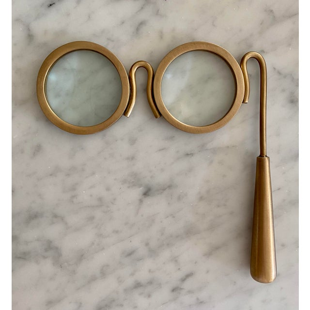 Lorgnette Style Magnifying Glasses in Antique Brass For Sale In Chicago - Image 6 of 6
