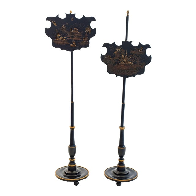 19th Century English Chinoiserie Pole Fire Screens - a Pair For Sale