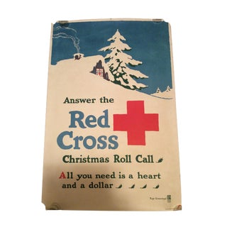 Ray Greenleaf WWI Red Cross Christmas Roll Call Poster For Sale