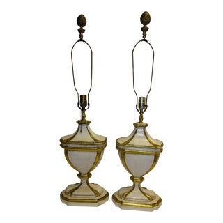 1950s Hollywood Regency Giltwood Lamps - a Pair For Sale