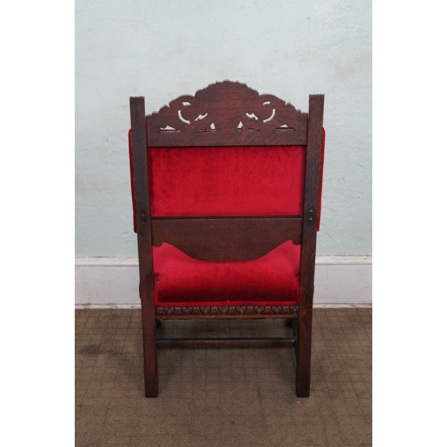 Antique Lion Head Solid Oak Renaissance Arm Chair - Image 4 of 10
