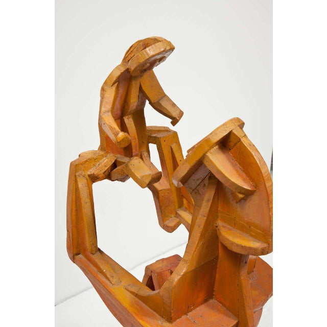Brown Sculpture of Mother and Child For Sale - Image 8 of 10