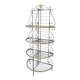 French Style Demilune Bakers Rack in Faux Iron Finish With Brass Plated Accents For Sale
