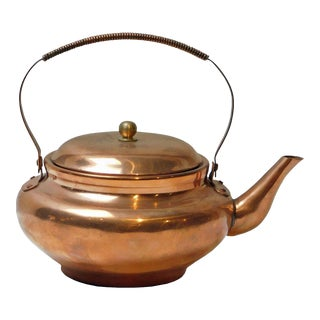 Handmade Traditional Cooper Teapot With Fold Down Handle For Sale