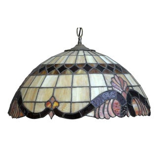 Tiffany Style Brown & Beige Stained Glass Pendant Light For Sale