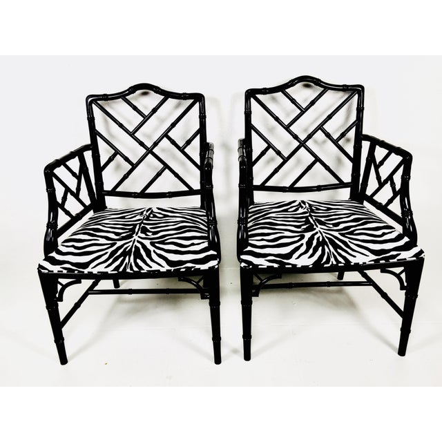 White 1970s Chinese Chippendale Style Side Chairs – a Pair For Sale - Image 8 of 8