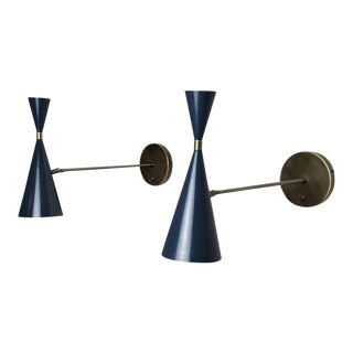 Italian Modern Wall-Mount Reading Lamps Sconces in Bronze & Enamel by Blueprint Lighting- A Pair For Sale