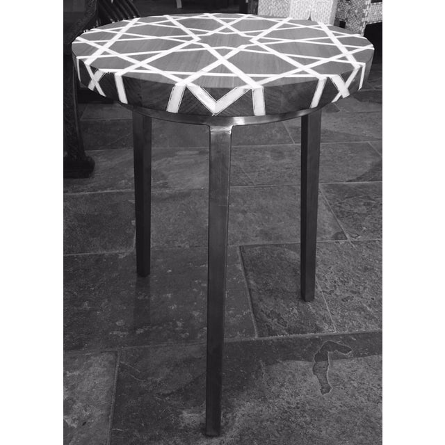 Contemporary Modern Islamic Style Mother of Pearl Inlay Side Table For Sale - Image 3 of 7