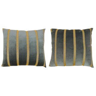 """Vintage Art Deco Decorative Velvet Pillows in Green With Gold Stripe Brocade; Size 20"""" X 20"""" (1'8"""" X 1'8"""") - a Pair For Sale"""