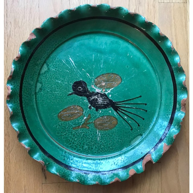 French Provincial Vintage French Provincial DeMarnaz Green Pottery Platter With Black and Ochre Bird Decoration For Sale - Image 3 of 3