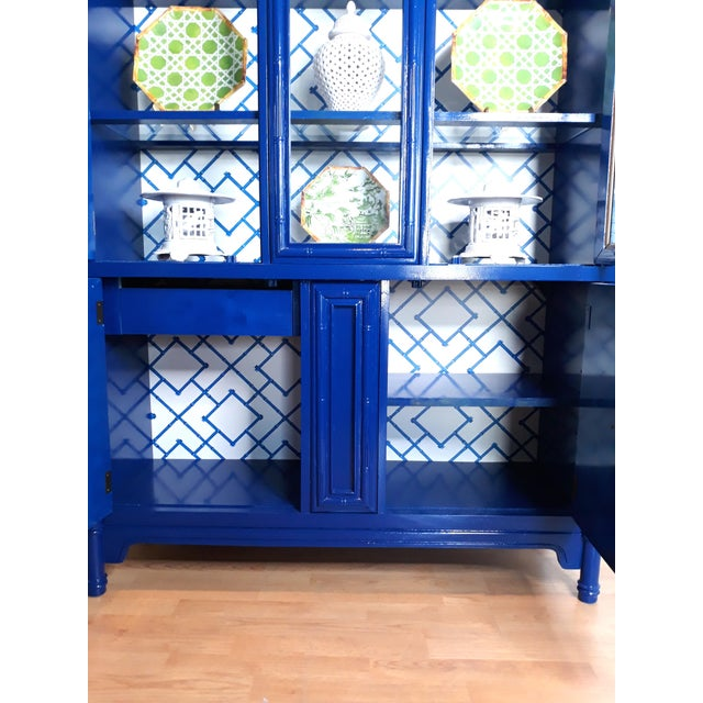 Navy Blue Faux Bamboo Navy Blue Lacquered China Cabinet For Sale - Image 8 of 13