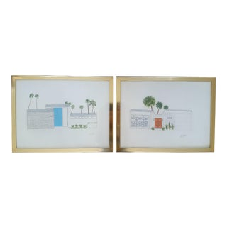 Original Palm Springs Mid Century Ranch Home Framed Drawings - A Pair