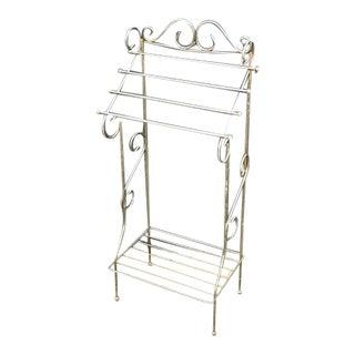 Mid Century Brass Scrolled Towel Rack/Shelf For Sale