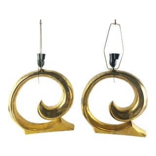 Pair of Philippe Hiquily French Brass Table Lamps For Sale