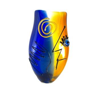 Modern Abstract Face Hand Blown Viz Glass Vase For Sale