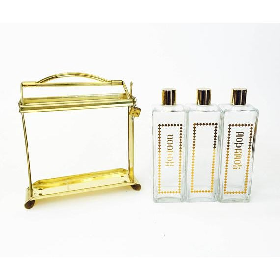 Mid Century Brass Locking Decanter Set For Sale - Image 4 of 6