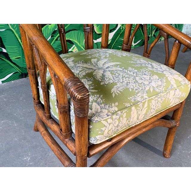 Wood Pair of Bamboo Club Chairs in the Style of McGuire For Sale - Image 7 of 12