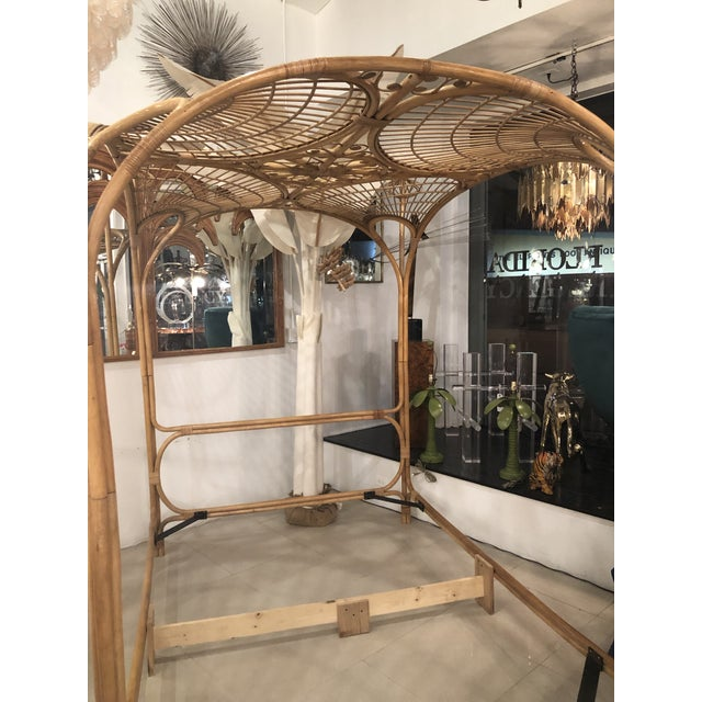 Vintage Tropical Boho Palm Beach Rattan Queen Size Canopy Bed For Sale - Image 4 of 13