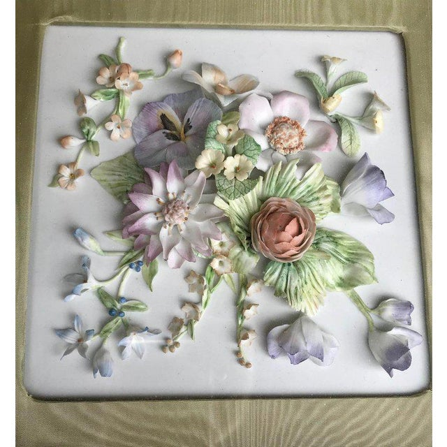 Ceramic 19th Century Bisque German Porcelain Floral Plaques in Shadow Boxes - a Pair For Sale - Image 7 of 12