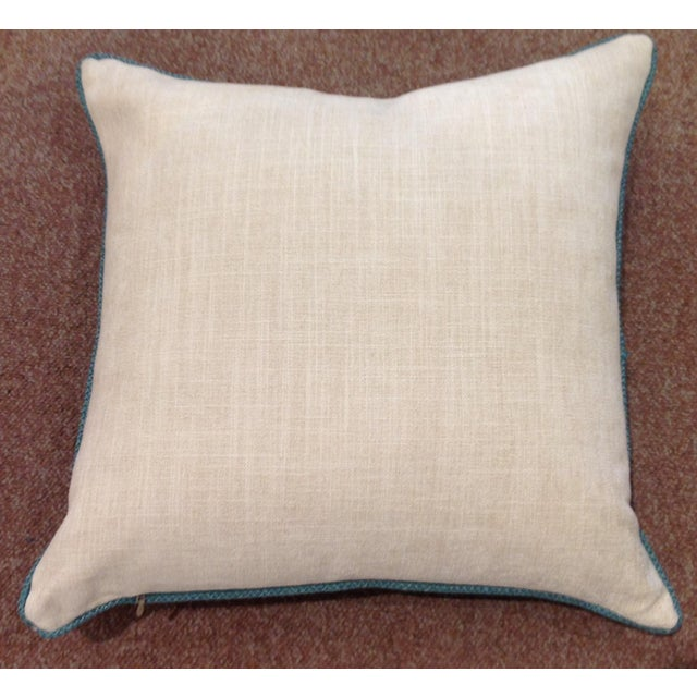 French French Brunschweig & Fils Aqua Zebra Pillow For Sale - Image 3 of 4