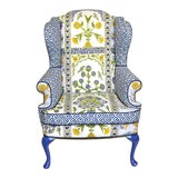 Image of Thibaut Indian Panel Blue and Yellow Wingback Chair For Sale
