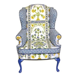 Thibaut Indian Panel Blue and Yellow Wingback Chair For Sale