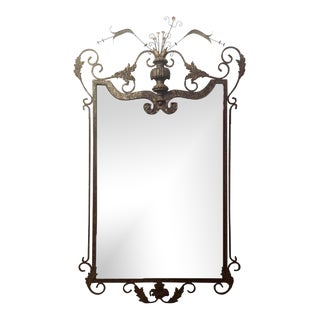Gilbert Poillerat Style Neptune Design Wrought Iron Wall or Console Mirror For Sale
