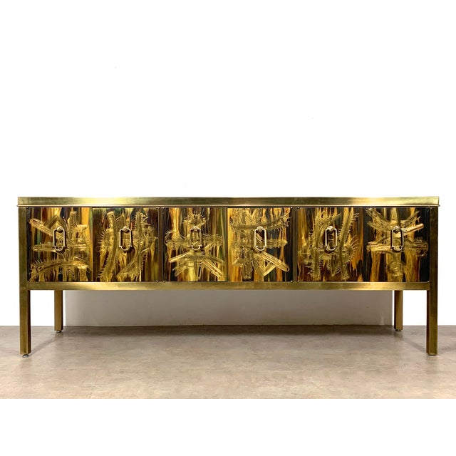 Bernhard Rohne Acid Etched Brass Credenza for Mastercraft 1970's For Sale - Image 13 of 13